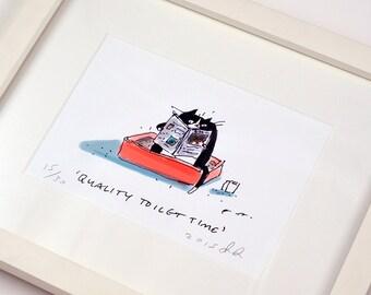 Quality Toilet Time - Framed Cat Print - Cat Gift - Funny Cat Art