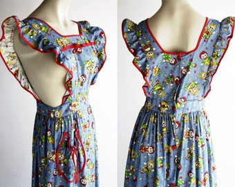 70s Raggidy Raggidy Ann Size Medium Vintage 70s Cotton Maxi Apron Dress by Eco Originals