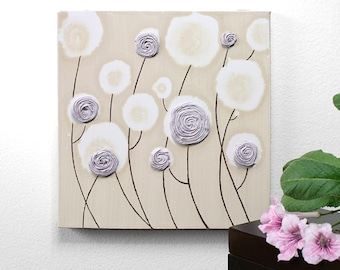 Lavender Art Nursery Rose Painting on Canvas Textured - Small 10x10