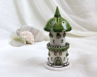 Green Romantic house of tiny fairies -- Hand Made Ceramic Eco-Friendly Home Decor by studio Vishnya
