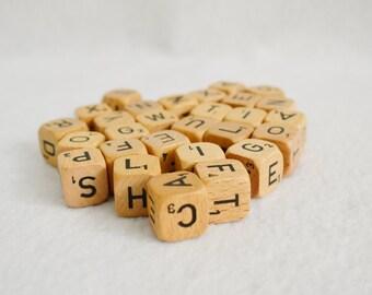 Vintage Wooden Scrabble Cubes-Letters-Crafts-Game Pieces