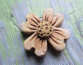 LAST ONE Dogwood Inspired Pendant, Handcrafted Beads, Flower Pendant, Ceramic Beads, Pendant, Pendants, Art Bead, Classic Bead, tracee