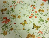 Vintage Floral Wallpaper, Butterflies and Flowers, Wallpaper Roll, Orange and Yellow Flowers Wallpaper, Vintage Wall Decor, Vintage Paper