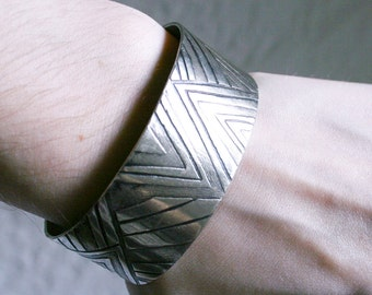 Modernist Etched Cuff Bracelet Unsigned