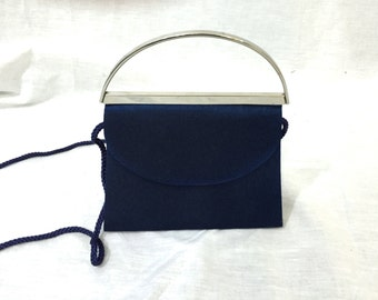 Vintage Dark Blue Small Evening Purse. Navy. Metallic. Glittery. La Regale Ltd. 1980s. Formal. Small Handbag. Silver. Blue. Under 20.