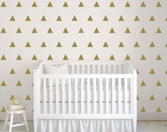 Triangle wall decal, Baby wall decal, Gold triangle wall sticker, Nursery wall decal, Triangle wallpaper, Playroom wall decal DB392