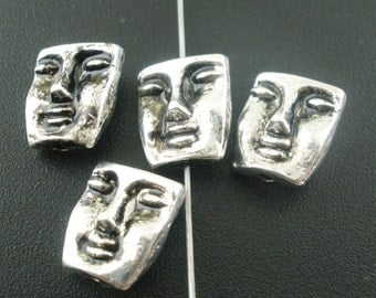 Face Bead - set of 10 - Antique Silver - #B182