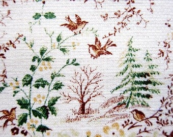 Japanese Fabric Cotton Linen Blend - Birds and Forest in Brown and Green - Fat Quarter