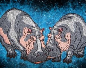 Hippopotamus Hippo Pair Iron on patch