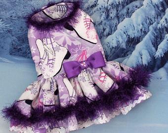 Dog Dress, Dog Harness Dress, Dog Fashion, Ruffle Dress for Small Dogs, Holiday Dress for Dog, Dog Christmas Dress, Purple, Skates