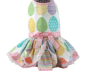 Dog dress, harness dog dress, Easter dog dress, All Over Easter Eggs