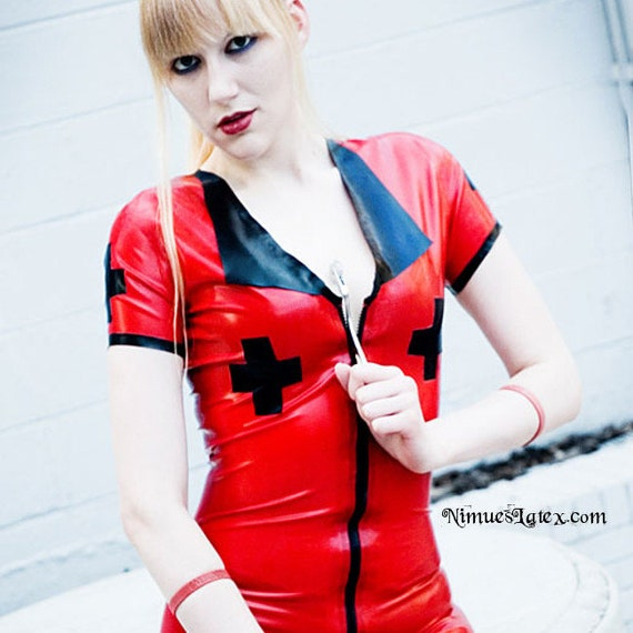 Latex Nurse Dress with front zip.  Made-to-order
