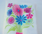 RESERVED for K******: Retro Floral Paper Napkins by Don Galindo, Signed - Monogram of CA Cashmere Soft Towels, Pack of 20, NWT, IoP 1960's
