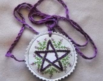 Lavender Pentacle, Spiritua,l Amulet, Pendant, Necklace