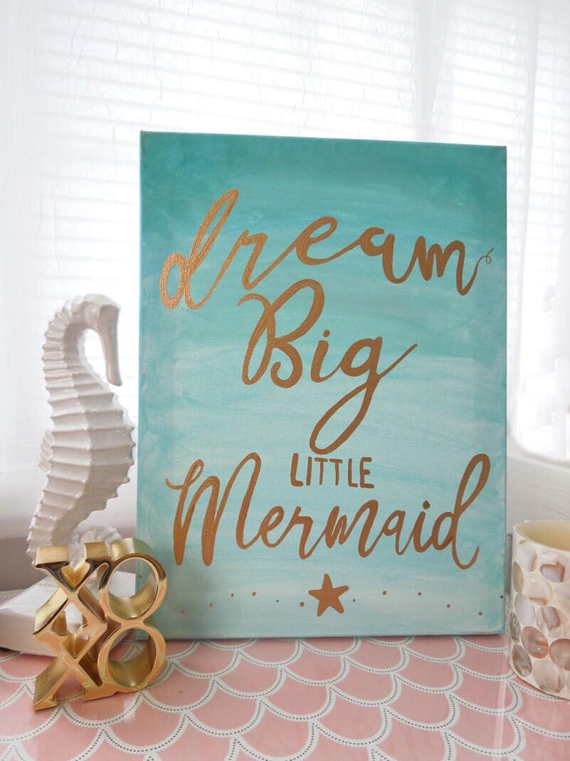 Mermaid Nursery Wall Decor 11x14 Canvas Aqua And Gold