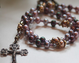 5 Decade Pastel Swarovski Pearl Catholic Wedding or First Communion Rosary