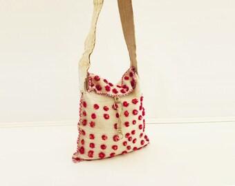 Tribal Wool Bag, Vintage Ethnic Bag, Pom Pom Bag, Cross Body Bag, Unique Messenger Bag, Mexican Bag, Bandolier Strap, Cream Wool Messenger