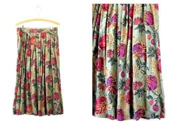 1980s Long Sage Green & Fruit Print Midi Skirt Rayon Long Skirt Bohemian Preppy Secretary Skirt 1990s Revival PLEATS Medium Large High Waist