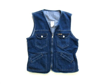 Safari Denim Vest Zip Up Sleeveless Jean Jacket Vest 80s Spring Jacket Outback Aussie Boho Jacket Pockets Womens Medium