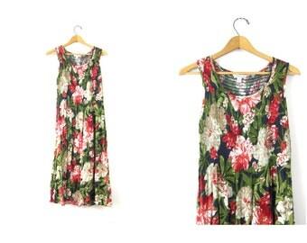 Floral Sun Dress 1990s Long Midi Festival Dress Sundress Boho Beach Tropical Flower Print Dress Rayon Summer Slip Dress size small Medium
