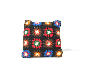 Vintage Crocheted Afghan Pillow Granny Squares Crochet Pillow Retro Home Decor Throw Pillow Dell's
