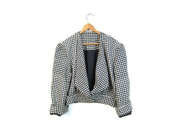80s Cropped Wool Jacket Mod Black White Checkered Coat Houndstooth Bolero Crop Jacket Suit Coat Blazer DELLS Fall Womens Jacket XS Small