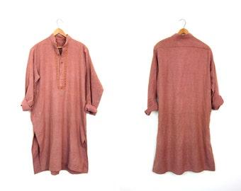 Embroidered Ethnic Dress Thick Cotton Midi Dress Collarless Caftan Dress Bohemian Salmon Pink Tunic Traditional Long Sleeve Dress Medium