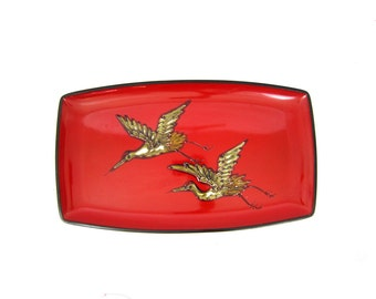Retro Plastic Mid Century Serving Tray Red Black Birds TV Lap Tray Plant Plate Barware Hipster Platter