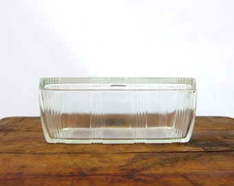 1930s Hazel Atlas vintage clear glass Refrigerator Dish Leftover Loaf Pan Covered Criss Cross Lid Box Kitchen Home Decor
