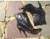 LOVE SALE 1990s Vintage Goth Rocker Black Leather Zipper Killer Toe Boots  11