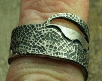 Hand forged, rustic sterling silver band, rustic style band, antiqued band, unisex band, size 8.5, girls ring, casual ring, ready to ship