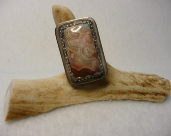 Southwestern Style Crazy Lace and Sterling Silver Ring  Size 7 1/2