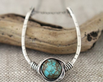 Turquoise & Silver U Shaped Necklace