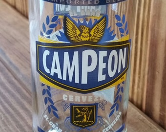 YAVA Glass - Upcycled CAMPEON Imported Beer Bottle Glass (El Salvador)