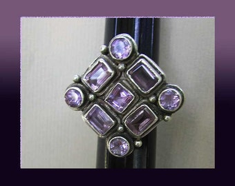 WHOPPING Big Ring-Amethyst Cocktail Ring,Sterling Silver,Modernist Multi Gem Statement Piece,Vintage Jewelry,Women