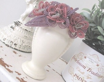 Vintage French Beaded Flowers * Lilac * Pink * Grey