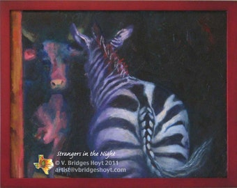 Animal Art, Cow and Zebra, Strangers in the Night, framed, original oil, collectible fine art