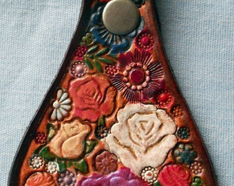 Leather Key Fob with Roses Flowers Lady Bug Made in GA USA Brown Border