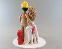 Customized Cake Topper - Firefighter & Sexy Nurse Wedding