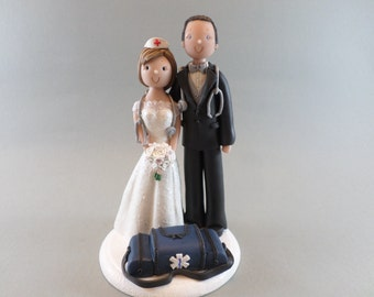Cake Toppers - Doctor & EMT Paramedic Customized Wedding Cake Topper