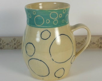 Unique Funky Mug, Handmade, Coffee Cup, Teacup, Tea Cup, Funky, Circles, Turquoise, Pottery Mug, Gift Idea, Unisex