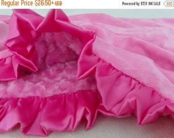 ON SALE Hot Pink Minky Baby Blanket, Hot Pink Rose Swirl, Hot Pink Ruffle