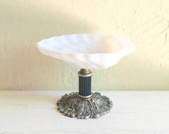 Vintage Hollywood Regency Milk Glass Trinket Soap Dish with Silver Patina Filigree Pedestal Base