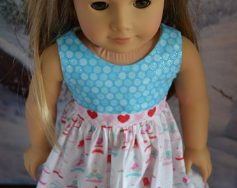 18 inch Doll Clothes - Love Birds Colorblock Dress - AQUA PINK WHITE - Valentine's Day - Tweet Hearts - Bird Cage - fits American Girl