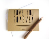 Love You Forever Card - Paper Cut Valentine Card - I Love You Card - Black Valentine Card - Valentine's Day Card - Valentine Card Him or Her