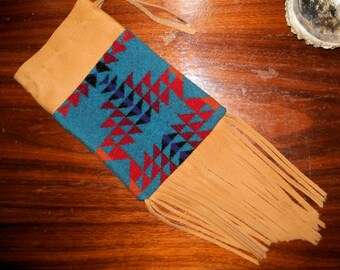 Fringed Possibles Bag XXL / Cedar Bag / Medicine Bag / Drawstring Bag Wool and Leather Handcrafted Using Fabric from Pendleton Woolen Mill