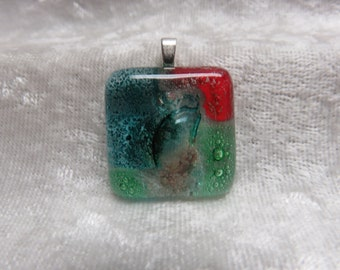 Colorful Fused Art Glass Pendant/Necklace