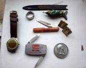 Junk Drawer Lot - Vintage Deco Watch - Zippo Pocket Knife - Cufflinks - Coin - Ring - Bakelite Nail file