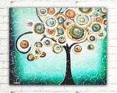 Turquoise Teal Living Room Decor, 24x30 Whimsical Tree Painting Canvas Art, Tree of Life Wall Art Home Decor