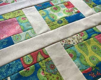 Summer House - Unfinished Baby Quilt top - Ready to quilt - Lily Ashbury / Moda / floral / pink, teal, green / colonial style / gift for her